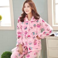韩版春秋孕妇珊瑚绒睡衣月子服哺乳喂奶产后法兰绒家居服加厚套装