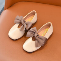 2018秋新款韩版童鞋女童皮鞋蝴蝶结公主鞋软底方口单鞋儿童豆豆鞋