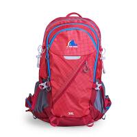 大鱼户外男女通用登山包防水双肩旅行背包30L防雨罩减压省力 红色 送防雨罩