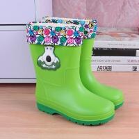 儿童雨鞋男童女童防滑中筒雨靴幼儿宝宝小童卡通加绒水靴小孩水鞋