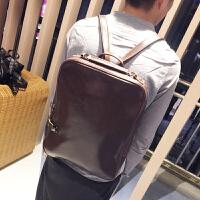 新款男士双肩包韩版潮流时尚学院风书包休闲学生包旅行包 咖啡色 现货