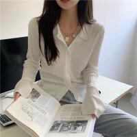 白色���_衫秋季新款女修身�@瘦套�^�L袖上衣polo�I薄款毛衣外套