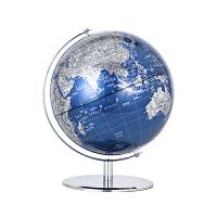 博目 25cm蓝色金属地球仪办公用品 教学用品 创意礼品 办公书房装饰