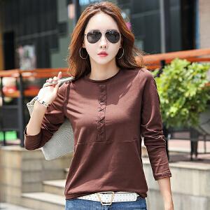 长袖t恤小衫早秋新款打底衫女士上衣韩版显瘦休闲体恤打底衫