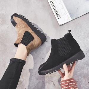 ZHR马丁靴女厚底加绒复古短靴百搭切尔西靴平底女靴子2018冬季新款