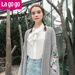 Lagogo/拉谷谷2018年春季新款时尚刺绣长袖针织衫