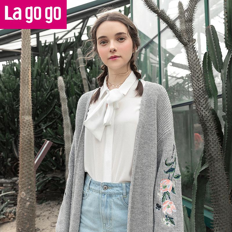 【清仓3折价167.7】Lagogo/拉谷谷2019年春季新款时尚刺绣长袖针织衫