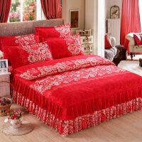 婚庆四件套大红色粉色结婚床上用品新婚床品床裙式被套床单1.8m床