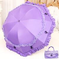 太阳伞防晒防蕾丝花边女神公主洋伞遮阳黑胶晴雨伞两用
