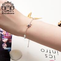 皇家莎莎 925银手链女日韩时尚个性飞机简约百搭超萌手饰品送女友生日礼物