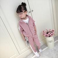 女童春装运动套装2018新款韩版儿童春秋外套长裤休闲两件套潮衣服0535 粉红色
