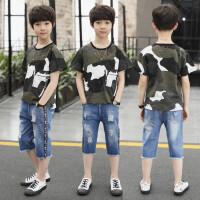 男童夏装新款套装夏季童装中大童短袖纯棉帅气牛仔洋气两件