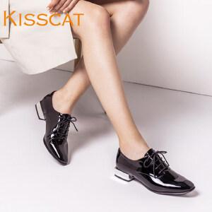 接吻猫方头电镀后跟小皮鞋低跟牛漆皮深口单鞋女DA76504-10