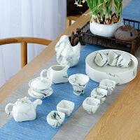 整套功夫茶具手绘盖碗茶杯家用简约办公水墨西施侧把壶套装