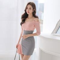 2018夏新款韩版性感一字肩撞色吊带连衣裙修身显瘦荷叶边裙 图片色