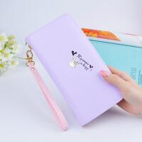 韩版小清新皮夹女学生长款拉链钱包女士手拿包 紫色