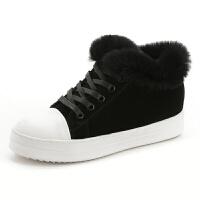 冬天内增高短靴女冬新款加绒雪地靴磨砂反毛皮平底棉鞋黑色毛毛鞋软底