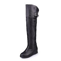 冬秋新款靴子女高筒骑士靴冬季过膝长靴内增高女鞋大码平底长筒靴真皮