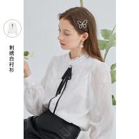 三彩2021秋季新款通勤气质白衬衫蝴蝶结花边立领长袖宽松衬衣女