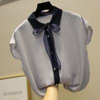 雪纺短袖女夏超仙上衣甜美洋气衬衫小衫2018新款韩版仙女小清新