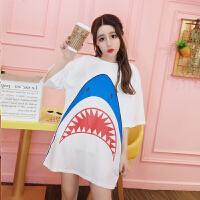 韩版夏装2018时尚宽松短袖中袖鲨鱼印花图案T恤中长款上衣女 白色 均码