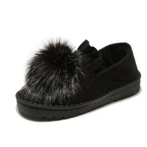 WARORWAR新品YM129-A13冬季韩版磨砂绒平底舒适女士毛毛单鞋