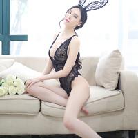 性感蕾丝马甲小胸聚拢奶情趣内衣套装兔女郎透视制服诱惑极度sm骚 +丝袜 均码