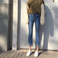 微喇叭�九分��n版高腰毛�流�K牛仔�女2018春秋新款chic�子潮