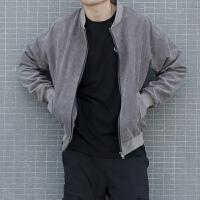 春季夹克男 新款男士灯芯绒外套潮学生韩版修身纯色棒球服青少年 加薄棉款