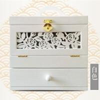 家居生活用品复古木质化妆品收纳盒 木制梳妆盒大号桌面家用护肤品箱防尘带镜 白色 大号