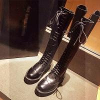 不�^膝�L靴女秋冬2018新款�R丁靴女英���T士靴女高筒�R靴女�L筒靴SN8642