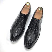 秋季酒红色鳄鱼纹尖头皮鞋商务男士英伦亮面皮鞋内增高发型师鞋子软底