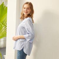 【2件2.5折到手价:35】美特斯邦威衬衫女夏季新款休闲珍珠细节剪刀领衬衫商场款