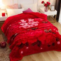 结婚毛毯子红色婚庆毛毯大红色结婚用毛毯喜被陪嫁*10斤双人被子冬季加厚毯子