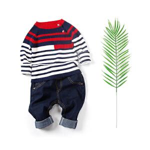 全织时代2018春季新款男小童撞色条纹针织衫男宝宝斜襟扣套头毛衣