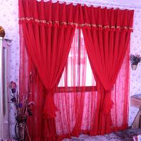 丽纱窗帘韩式成品蕾丝 浪漫婚房卧室客厅遮光喜庆大红色结婚