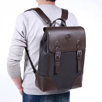 真皮背包韩版潮流男包大容量旅行包男士商务双肩包电脑包学生书包