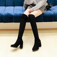 马丁靴 女士尖头加绒加厚高跟靴2020冬季欧美女式学生过膝长靴弹力靴子