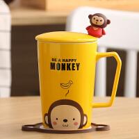 陶瓷杯马克杯卡通情侣杯牛奶杯咖啡杯茶杯水杯带盖勺