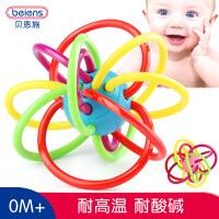 贝恩施婴儿曼哈顿手抓球手摇铃牙胶宝宝0-3-6-12个月早教益智玩具