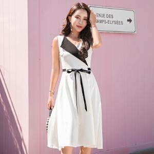 风轩衣度 2018年夏季新款连衣裙中长款韩版无袖个性简约修身显瘦都市 2505-868