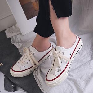 乌龟先森 帆布鞋 女式圆头百搭系带学生韩版厚底白色休闲鞋女士新款时尚潮流平底低帮小白鞋