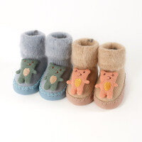 2双0-12个月秋冬厚男女宝宝新生婴儿童地板鞋袜子松口防滑底