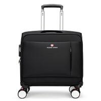 登机箱18寸拉杆箱男女飞机行李箱小型迷你牛津布旅行箱16寸万向轮SN2974 黑色 5016普通版