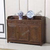 ZUCZUG鸡翅木餐边柜茶水柜中式仿古储物餐柜实木带门柜子收纳柜家具 3门