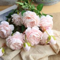 仿真牡丹花玫瑰花束婚庆家居客厅落地装饰干花假花绢花插花摆件 奶