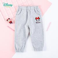迪士尼Disney童装 甜美米妮印花长裤迪斯尼宝宝休闲裤春季新品女童纯棉透气裤子