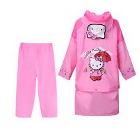 凯蒂猫儿童分体式雨衣女童雨衣雨裤雨鞋套装学生雨披女孩宝宝雨具