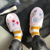 秋冬可爱卡通粉嫩室内地板拖鞋韩国少女粉色樱桃兔子防滑居家棉拖