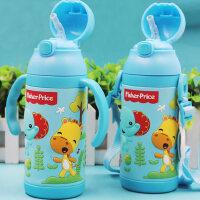 费雪宝宝带吸管保温杯两用有手柄重力球防摔婴儿童水杯小孩学饮杯